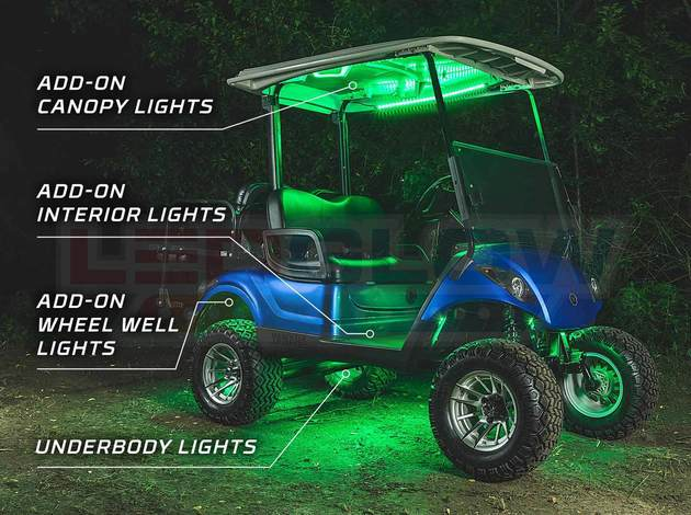 Led Golf Cart Underbody Lights 4pc Interior And Wheel Well