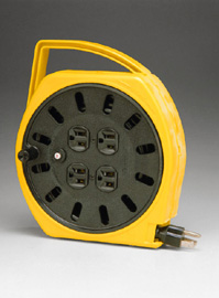 Multi-Outlet Manual Wind-Up Reel With 25 Ft Cord