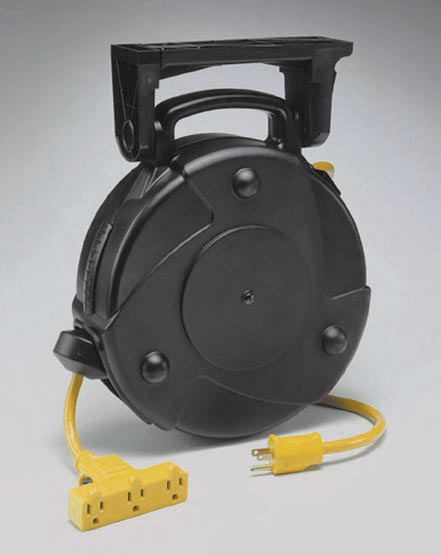 Industrial Retractable Extension Cord Reel w/ Tri-Tap